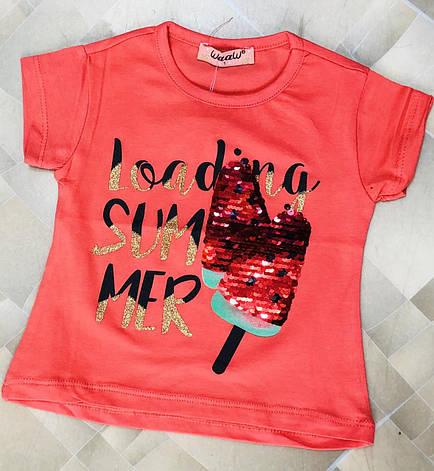 Детская футболка для девочки с пайетками р. 1-4 лет красная, фото 2