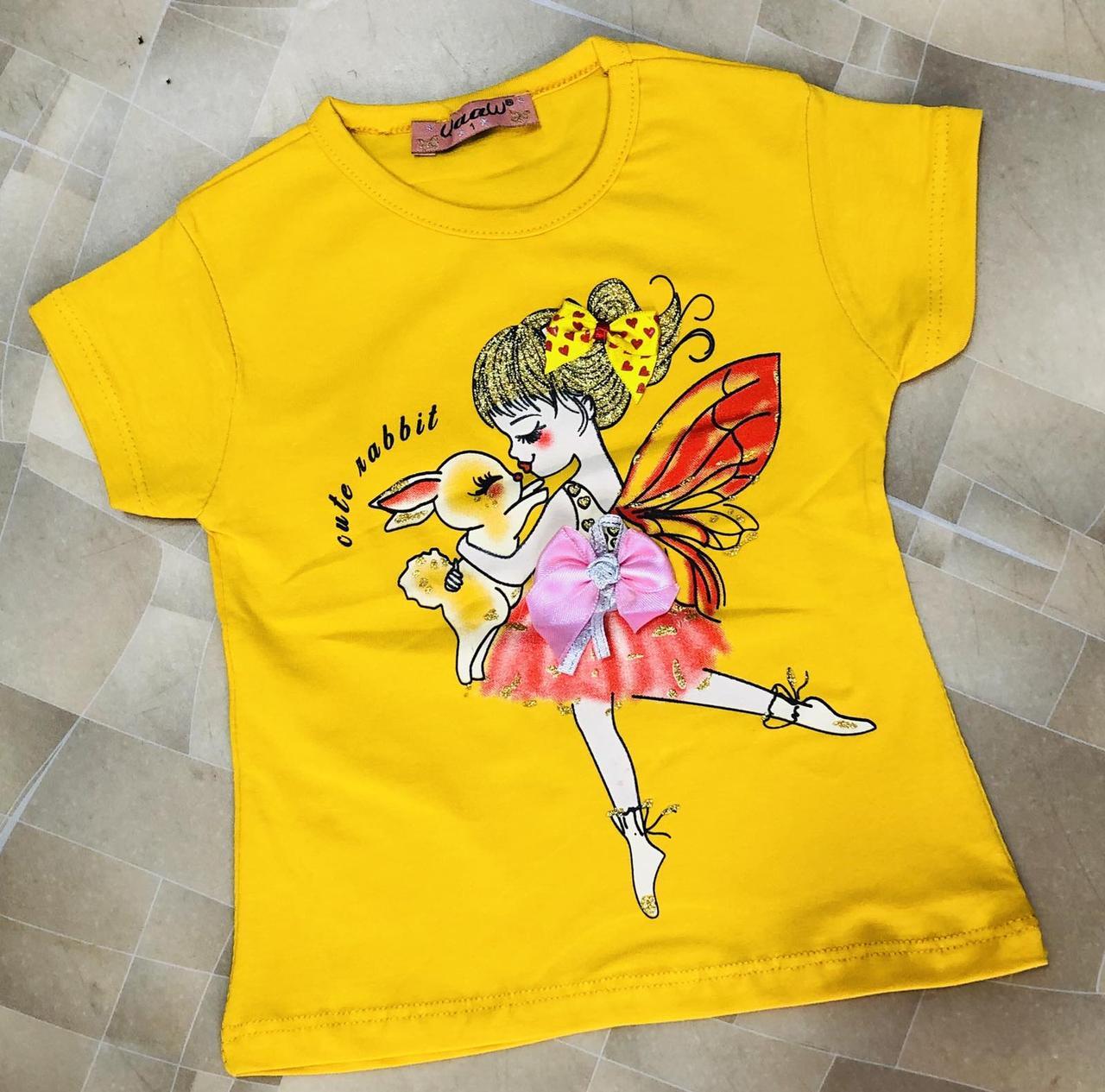 Детская футболка для девочки Фея р. 1-4 лет желтая