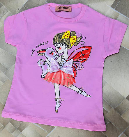 Детская футболка для девочки Фея р. 1-4 лет розовая, фото 2