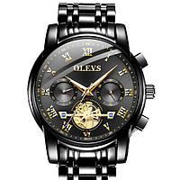 Кварцевые мужские часы Olevs (черные)