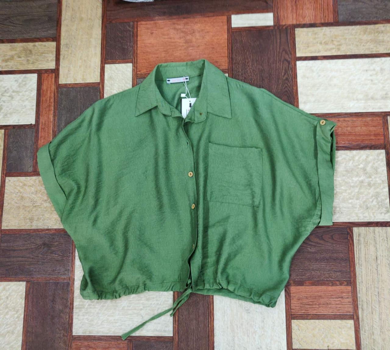 Легкая женская укороченная рубашка 42-48 (в расцветках)