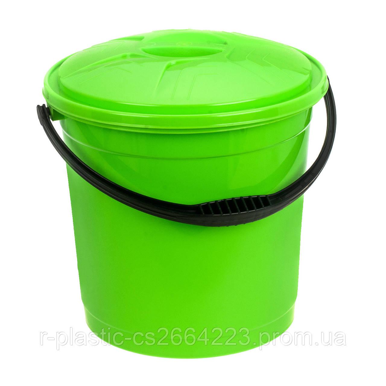 Відро кольорове з кришкою 15л R-Plastic салатова