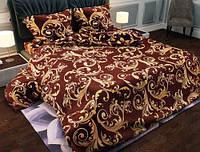 Ткань постельная  бязь голд люкс вензеля на красном .