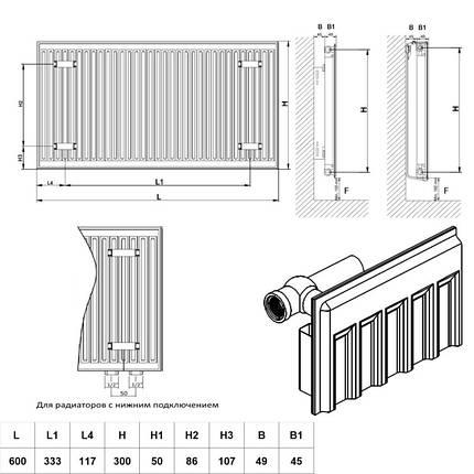 Радиатор стальной Daylux 11-К 300х600 нижнее подключение, фото 2