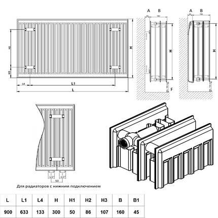 Радиатор стальной Daylux 33-К 300х900 нижнее подключение, фото 2