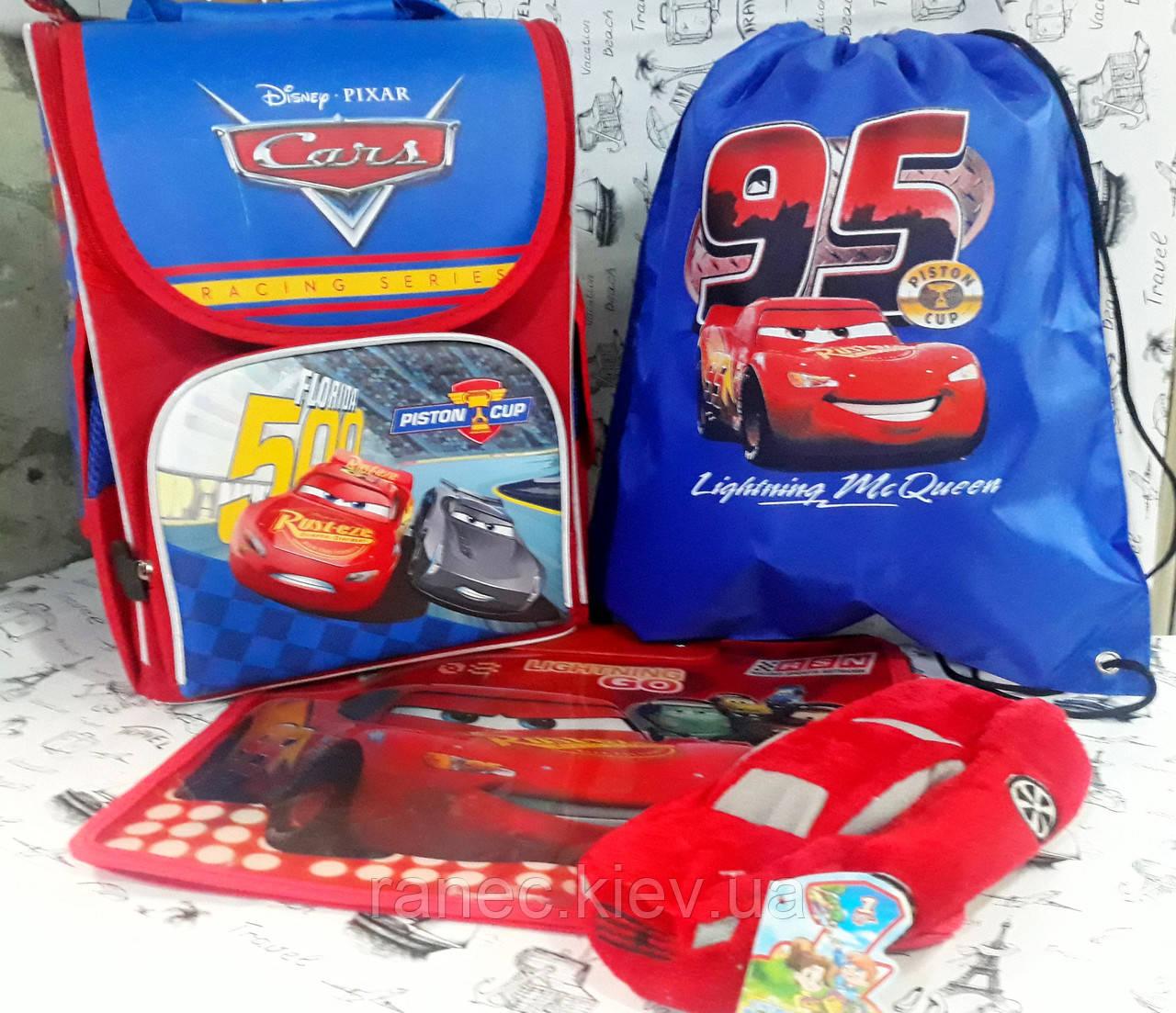 """Набор для мальчика """" Тачки2 """" рюкзак 988550  ,мягкий пенал , сумка для обуви  + Подарок ( папка А4)"""