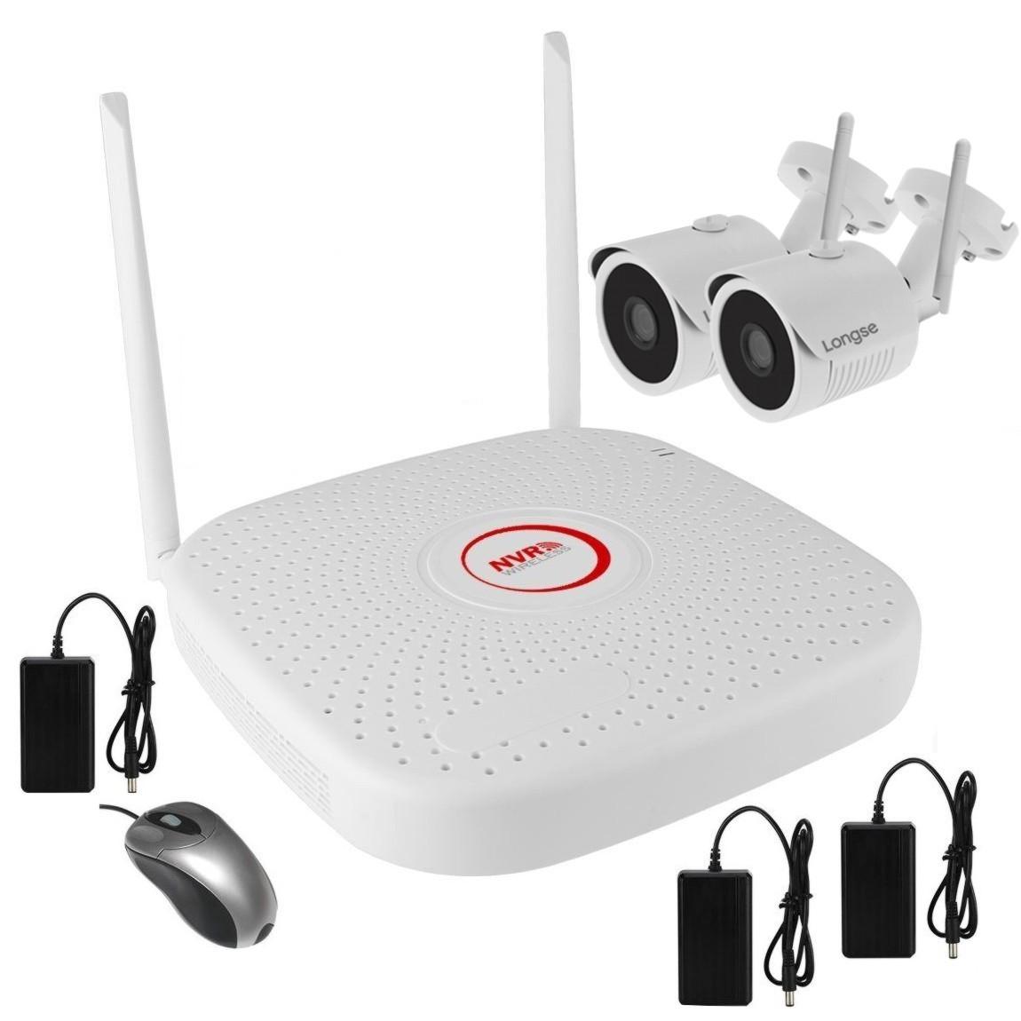 Комплект беспроводного WiFi видеонаблюдения на 2 камеры 1 Мп на 300 метров LONGSE WIFI2004PG1S100-2