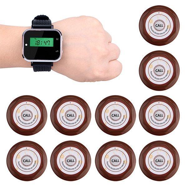 Безпровідна система виклику офіціанта Tivdio F3300 з годинником і 10 кнопками виклику (100065)