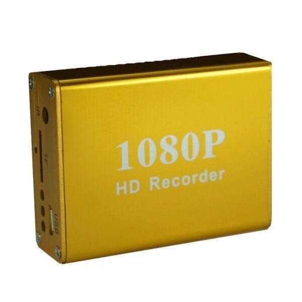 Мини видеорегистратор HD DVR на 1 камеру Pomiacam HD 1080P, с поддержкой AHD/TVI камер 2 Мп, пульт ДУ Желтый