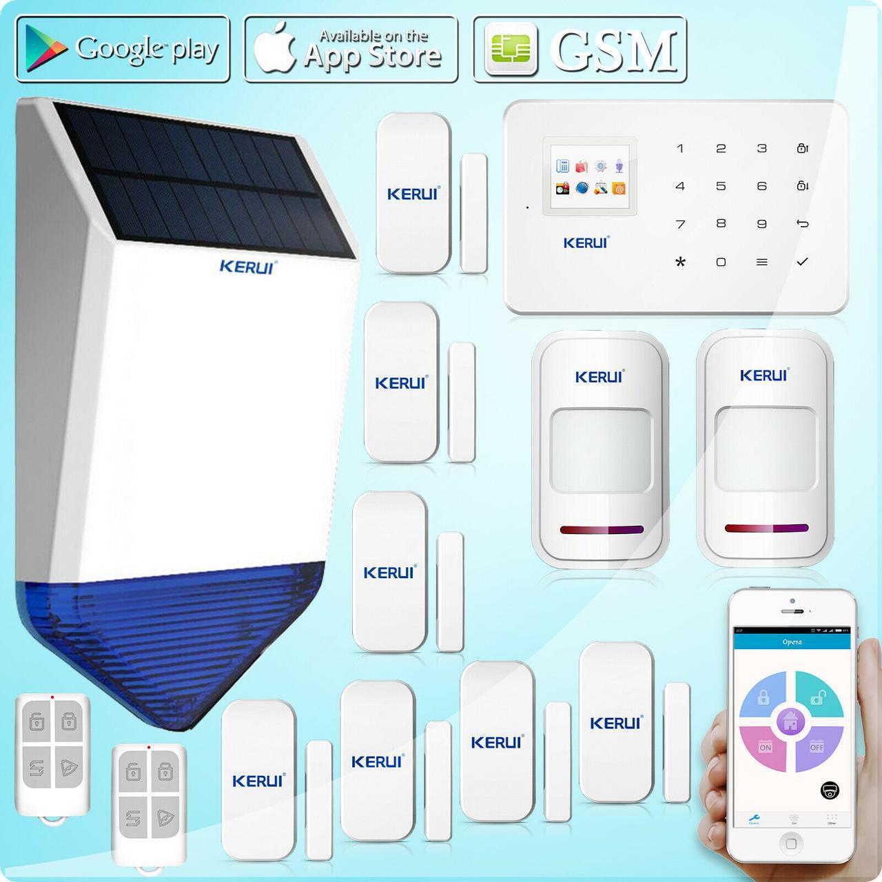 Комплект бездротової GSM сигналізації Kerui G18 prof + сирена сонячної батареї (KDKFID876FHNNFK)