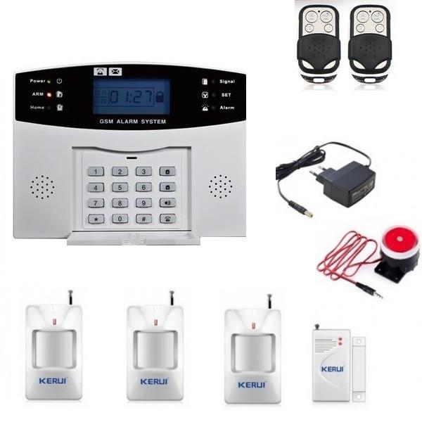 Комплект сигналізації Kerui GSM PG500 для 3-х кімнатної квартири (GHJF7F8KFFF)
