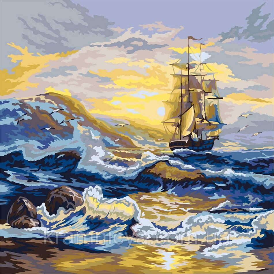 Картина по номерам Парусник на волнах, 40х40 (KPNE-02-07)