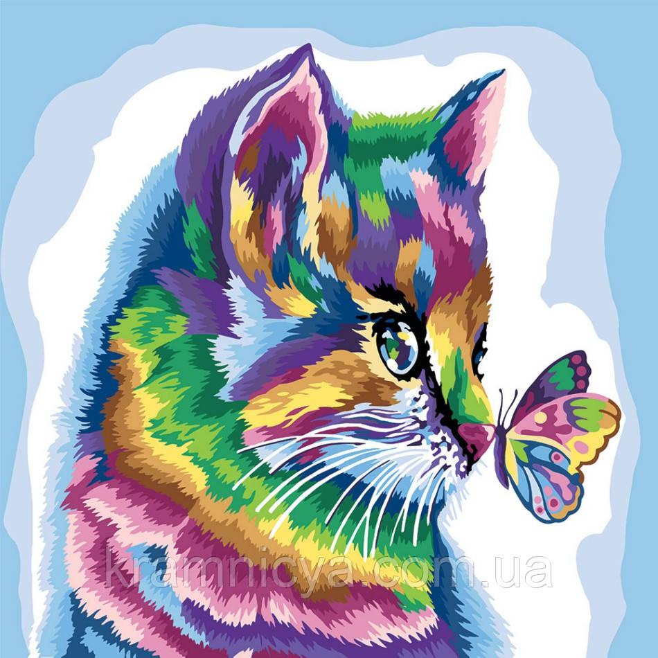 Картина по номерам Кот и бабочка, 40х40 (KPNE-02-08)