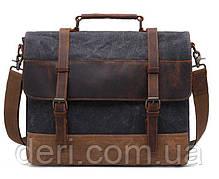 Сумка-портфель текстильная Vintage 20060 Темно-серая