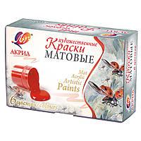 Краски акриловые матовые художественные 6 цветов, код: 353395