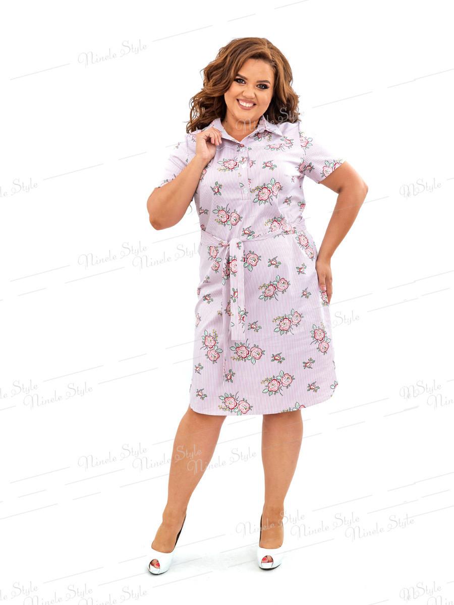 Повседневное коттоновое платье в полоску 450 54
