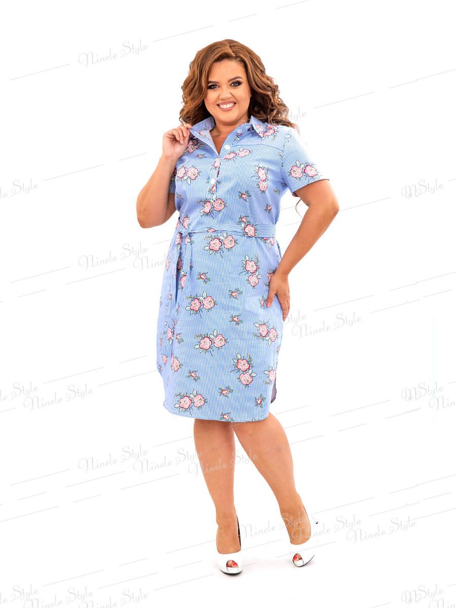 Повседневное платье-рубашка в полоску 450 54