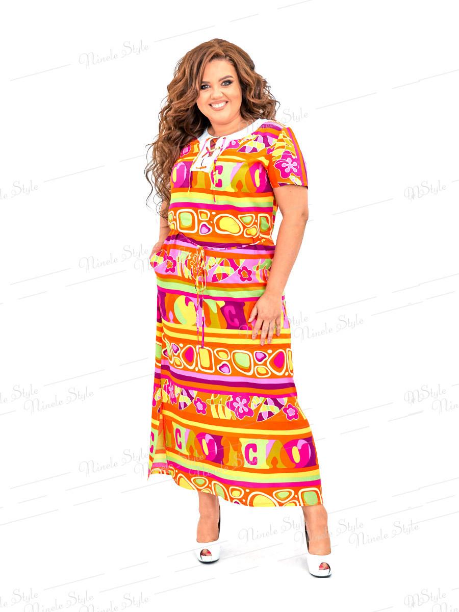 Повседневное длинное платье из штапеля  451 54