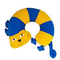 Дизайнерская подушка-подголовник / игрушка Silenta Кот Полосатый Желто-синий