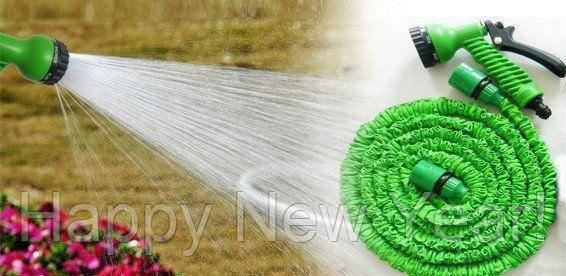 Шланг садовый поливочный X-hose 60 метров зеленый / растягивающийся шланг для полива Икз Хоз + насадка