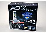 Светодиодные лампы для авто Turbo LED X3 H4, 6500K 50W, ближний/дальний, LED в авто, радиаторное охлаждение, фото 4