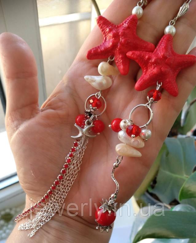 Длинные красные серьги из полимерной глины
