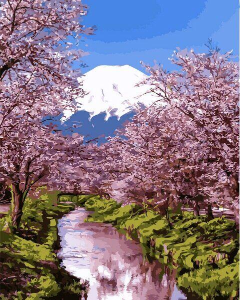MR-Q2195 Набор живописи по номерам Цветущая сакура 2