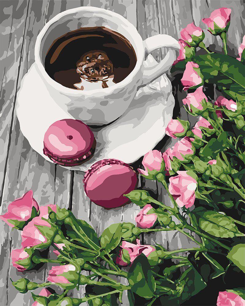 KH5559 Картина-раскраска Романтический кофе, Без коробки