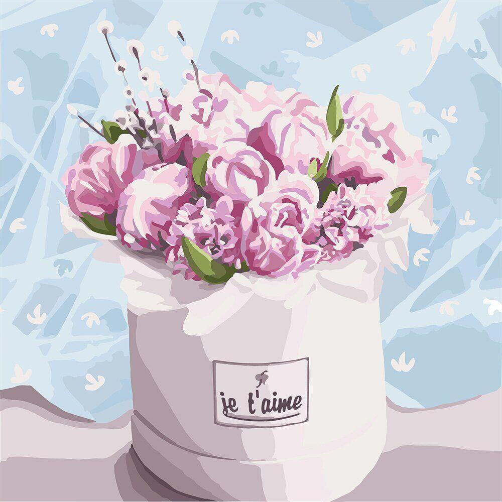 KH3084 Картина-раскраска Бархатный букет, Без коробки