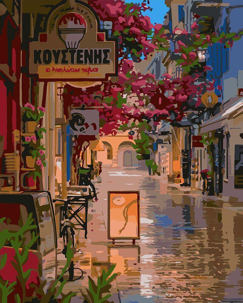 KH3575 Картина-раскраска Улочка в цветах, Без коробки