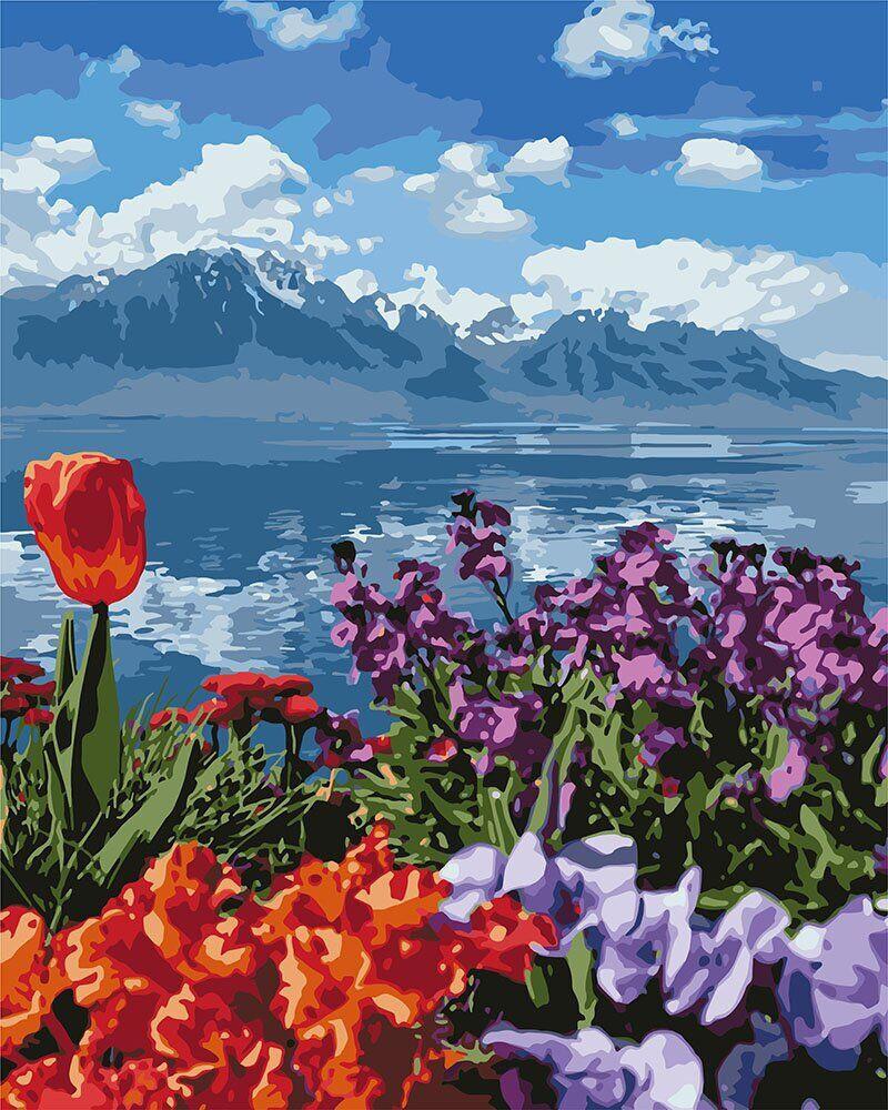 KH2278 Картина-раскраска Цветы и горы, Без коробки