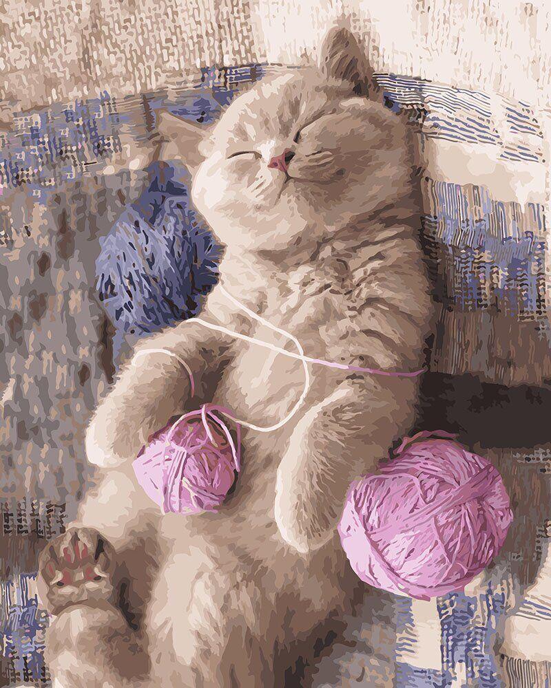 KH4174 Картина-раскраска Котёнок в нитках, Без коробки
