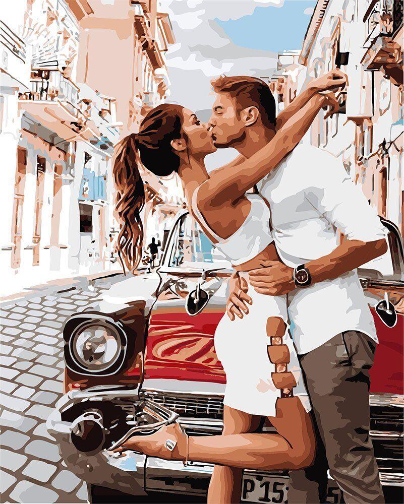 KH4718 Картина-раскраска Поцелуй, Без коробки