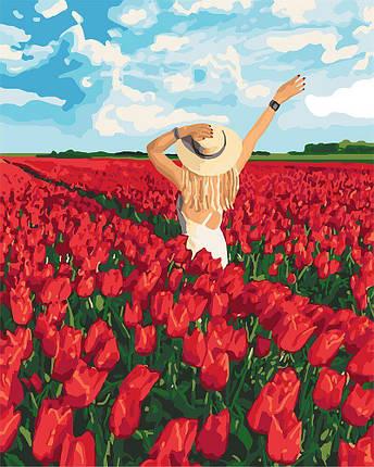 KH4721 Картина-раскраска Поле тюльпанов, Без коробки, фото 2