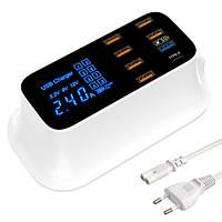 Сетевая зарядная станция 8x USB 8А QC3.0 LED-дисплей YC-CDA19Q