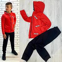 Стильный спортивный костюм для мальчика - подростка (двухнитка), красного цвета, р-122-128-140-146-152