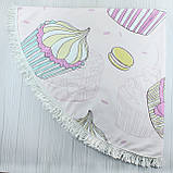 "Пляжное полотенце круглое, коврик с бахрамой ""Беж""  150см, фото 2"