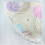 "Пляжное полотенце круглое, коврик с бахрамой ""Беж""  150см, фото 4"
