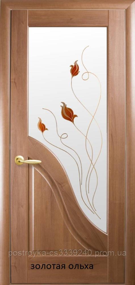 Двери межкомнатные Маэстра Амата Р1 Новый Стиль ПВХ со стеклом сатин 60, 70, 80, 90