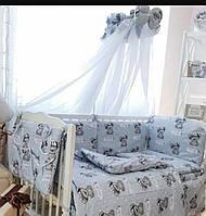 Комплект в детскую кроватку с балдахином серый, 8 элементов