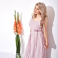 Женское свободное лёгкое летнее в полоску длинное макси платье с поясом в комплекте размеры 42-46 или 48-52