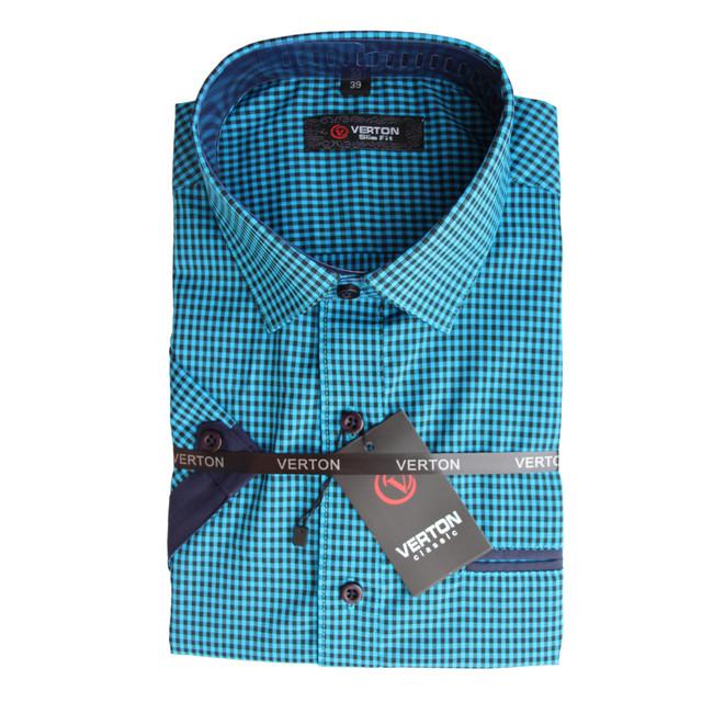 Рубашка для мальчика синяя в клетку короткий рукав