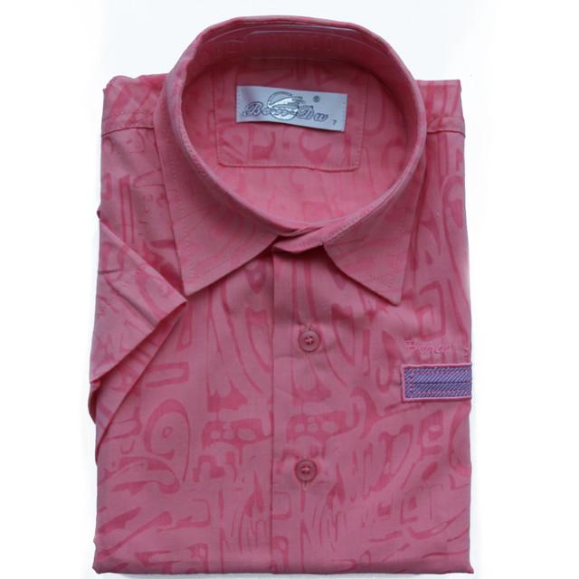 Детская льняная рубашка для мальчика с коротким рукавом  коралловая
