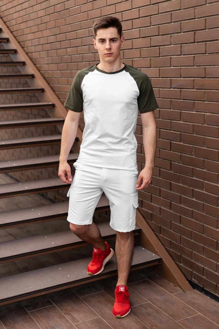 Футболка + шорты мужской летний комплект. Стильный мужской костюм футболка +шорты.
