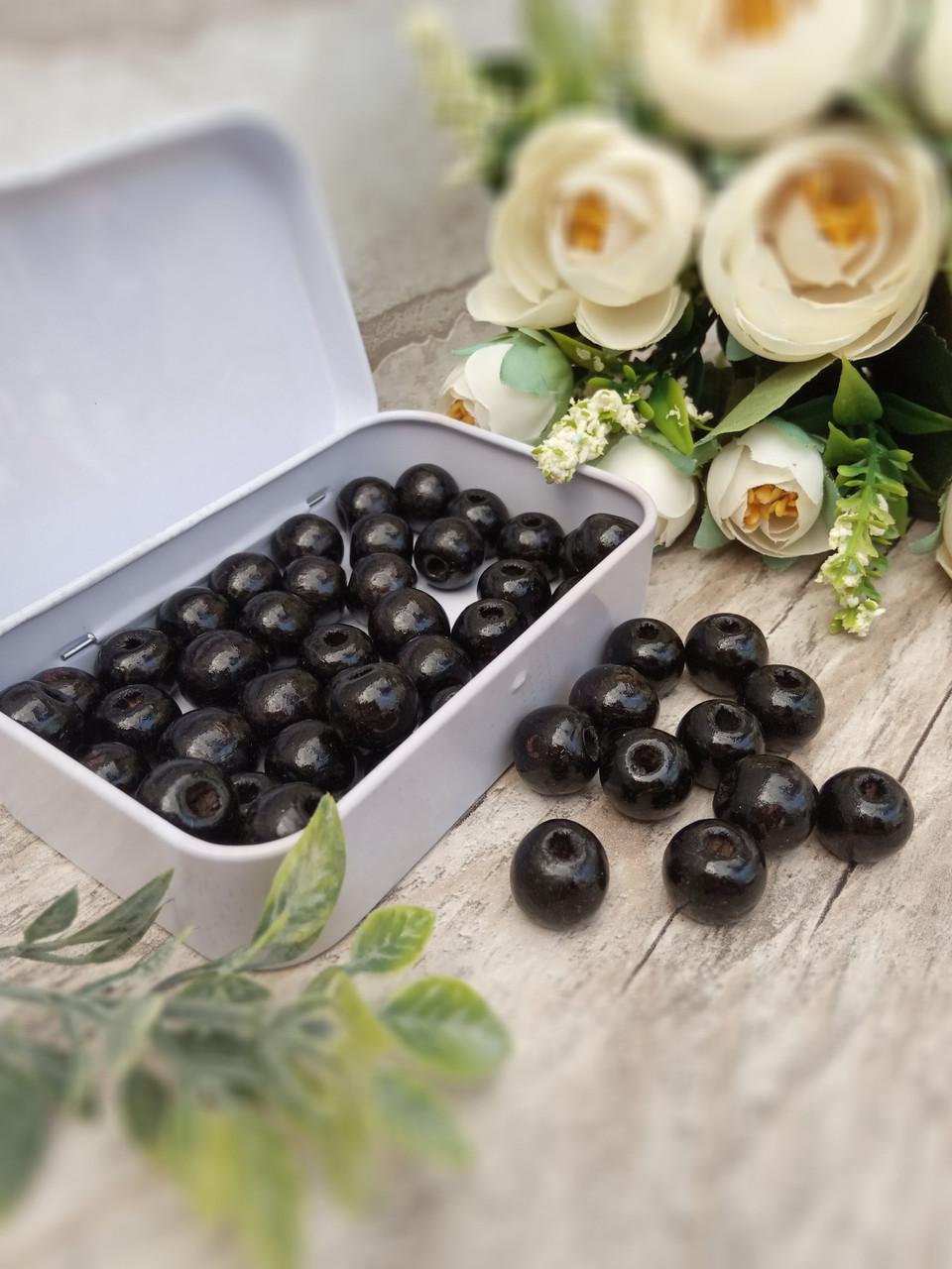 Чорні бусіни з дерева, діаметр 1,3 см, 50 шт/уп 15 грн