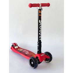 Самокат складной Scooter красный с машинками для мальчика