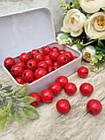 Червоні бусіни з дерева, діаметр 1,3 см, 50 шт/уп 15 грн, фото 4