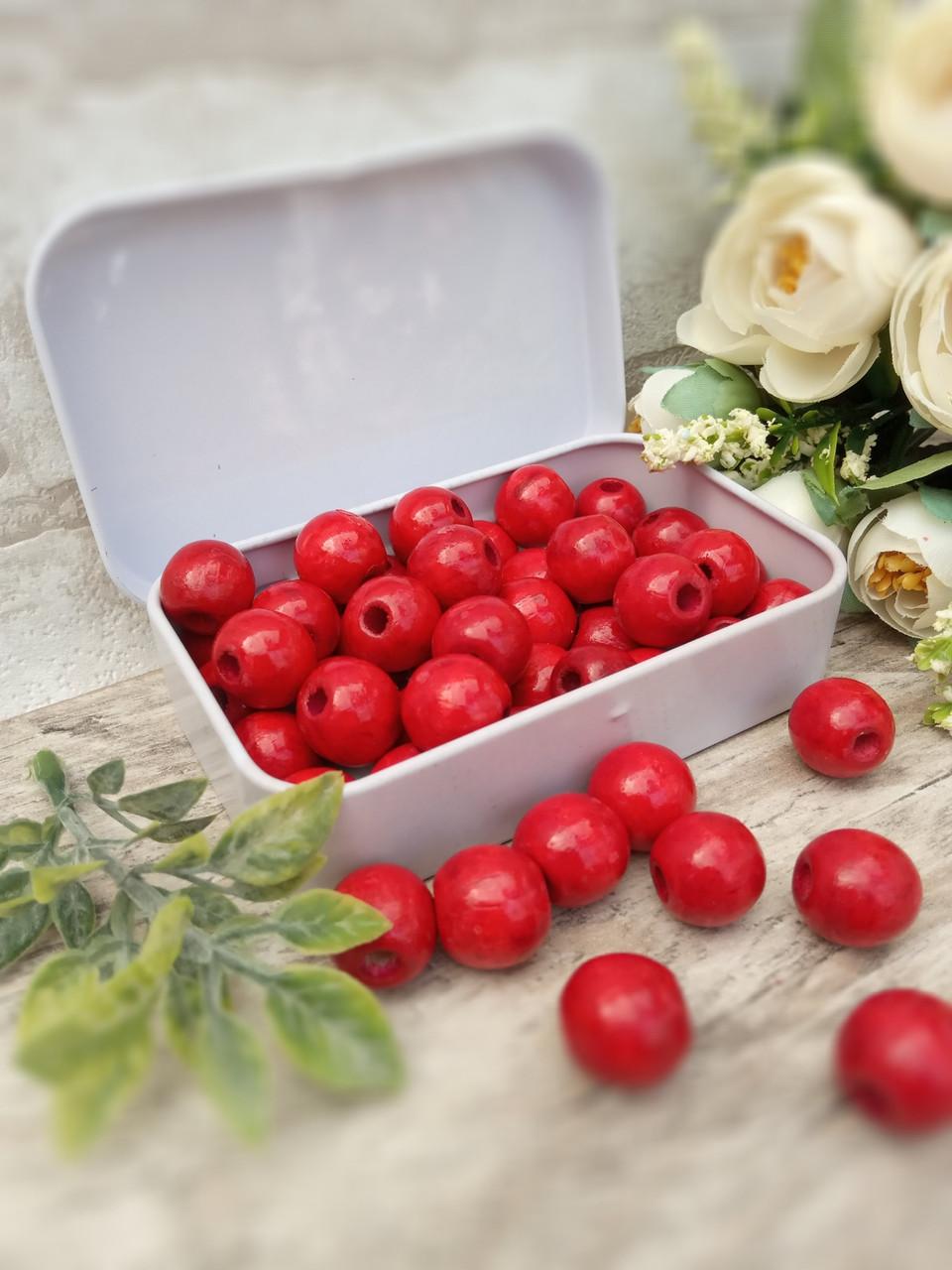 Червоні бусіни з дерева, діаметр 1,3 см, 50 шт/уп 15 грн