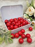 Червоні бусіни з дерева, діаметр 1,3 см, 50 шт/уп 15 грн, фото 3