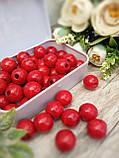 Червоні бусіни з дерева, діаметр 1,3 см, 50 шт/уп 15 грн, фото 2